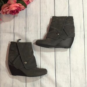 Blowfish Gray Suede Folded Ankle Wedge Booties